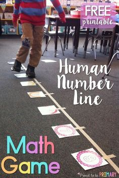 Primary teachers will love this FREE math learning game that gets kids moving on a human number line while practicing their addition skills. This math activity can be modified to work with any set of math flash cards and to practice math facts.: