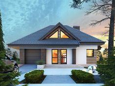 Projekt domu Reksio N+ 103,37 m2 - koszt budowy 180 tys. zł - EXTRADOM Modern House Floor Plans, Modern House Design, House Plans, Types Of Houses Styles, House Styles, Home Building Design, Building A House, Beautiful Small Homes, House Outside Design