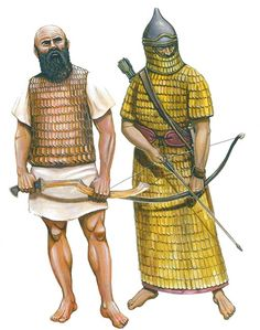 """""""Warriors from the Arab region with a short coat of mail and sickle sword to 1,500 v. Chr."""" """"Assyrian warrior from the period 900-650. Chr."""""""