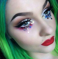 of july makeup Fix Makeup, Rave Makeup, Prom Makeup, Beauty Makeup, Beauty Tips, Makeup Goals, Makeup Inspo, Makeup Ideas, 4th Of July Makeup