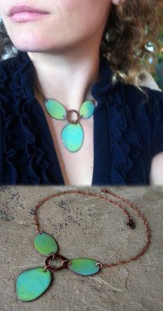 Enamel necklace made out of recycled copper.