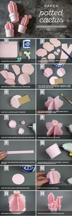 Cómo hacer papel Cactus  https://liagriffith.com/3d-potted-paper-cactus/ #origami