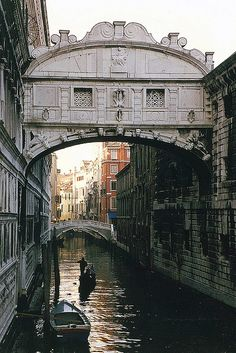 "Bridge of Sighs, Venice, Italy ~ It  had to be hard for a prisoner walking across this bridge into the prison cells on the other side. Knowing they'd never escape those dismal conditions, the bridge was aptly named ""The Bridge of Sighs""."