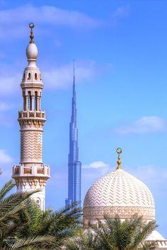 Reaching sky, Mosque and Burj Khalifa, Dubai