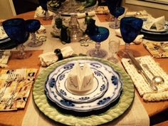 It took only minutes to transform this table from St. Patrick's Day to Passover Feast decor.