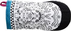 Folklore Owl Oven Glove - Story Oven Glove/Mitt by Sagafrom - black and white oven glove