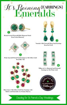 Something Dazzling for a St. Patrick's Day bride! Emerald Earrings | The Wedding Bistro at Bellenza.
