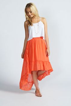 Nahla Embroidered Tier Mixi Skirt