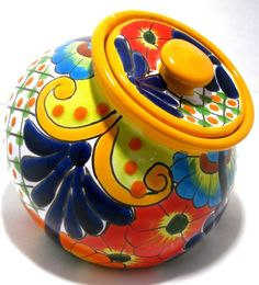 Talavera Pottery Canister Hand Painted Cookie Jar | eBay