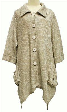 AKH Fashion Lagenlook Zipfel Strickjacke Cardigan XL Mode in creme bei www.modeolymp.lafeo.de