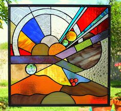"""Stained Glass Window Panel """"Worlds Without Number"""""""