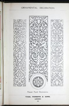 A few suggestions for ornamental decoration : a collection of designs & colour schemes for painters' and decorators' work / compiled by F. Border Pattern, Pattern Design, Motif Oriental, Ornament Drawing, Carving Designs, Motif Floral, Colour Schemes, Islamic Art, Zentangle