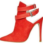 Coral Red Suede Braided Bootie