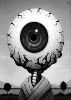 • gif art trippy random Black and White Cool creepy eye dark morbid strange surreal wierd odd eerie pupil Spiritual iris grim veins dark art throbbing eye ...