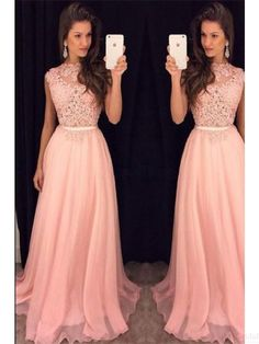 Elegant A Line Applique Long Chiffon Prom Dresses Evening  Dresses  #SIMIBridal #promdresses