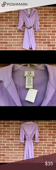 NWT  ICE Dress sz 12 Gorgeous eyelet lavender long sleeve dress , has a belt  and buttons down the front, fully lined, 100% cotton. #1228 Ice Dresses Mini
