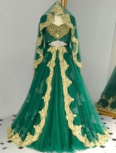 Green Tulle V Neck Beaded Long Sleeves Muslim Formal Prom Dress With Gold Lace Cape Wedding Dress With Veil, Wedding Dresses For Girls, Prom Dresses, Muslim Prom Dress, Green Lace, Green And Gold Dress, Fantasy Dress, Formal Prom, The Dress