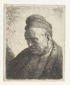 Buste van man met bontmantel en bontmuts, Rembrandt Harmensz. van Rijn, 1631
