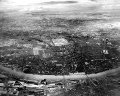 A 1946 aerial view of St. Louis and nearby area made from an altitude of 16,000 feet with infrared film and filter. Mississippi River in foreground; Missouri River in background. Photo by Art Witman of the Post-Dispatch
