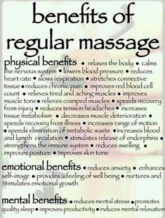 National Massage Therapy Awareness Week is October 19th - 20th and is part of an ongoing consumer outreach to promote the health benefits and practice of massage!! In recognition of this week here is a list of some of the many benefits of massage!! Getting regular massages is good for your physical, mental, and emotional health!!