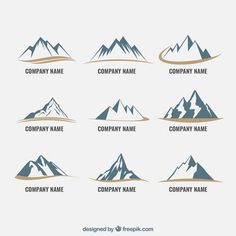 Icone di montagna Vettore gratuito