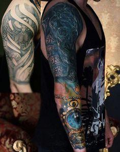 Guys Sleeve Attractive Pocket Watch Tattoo
