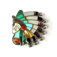Vintage Zuni Bolo Tie of Chief in Headdress or War Bonnet by the famous Ralph Quam