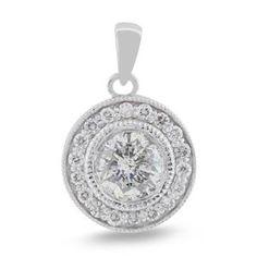 Malakan Jewelry - White Gold Round Diamond Pendant 53998T