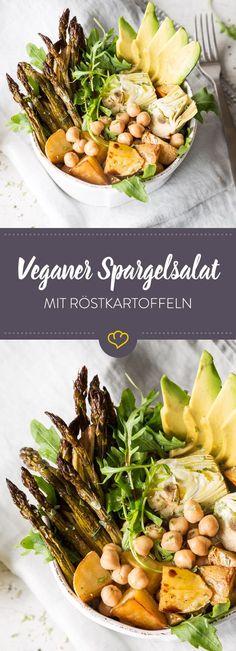 Mit Kichererbsen, Kartoffeln, Rucola, Artischocken und Avovcado wird dein Spargelsalat auch ohne tierische Produkte tierisch lecker.