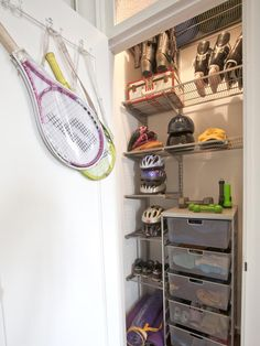Dawn Falcone Sports Closet... I'm thinking this will be a great layout for a front entrance cupboard.