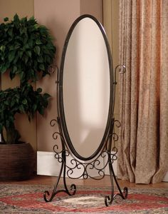 Cheval mirrors are perfect accent furniture additions that are both beautiful and useful. Cheval mirrors are perfect for checking your outfit before leaving for the day. Beautiful iron scroll full-length mirror adjusts to any angle. Powell Furniture, Iron Furniture, Steel Furniture, Paint Furniture, Cheval Mirror, Metal Floor, Dressing Mirror, Floor Mirror, Mirror Mirror