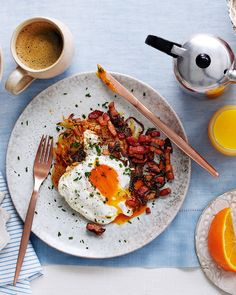 What better reason to get out of bed than for a brunch of crispy, cheesy potato röstis topped with a perfectly fried egg and crispy bacon.