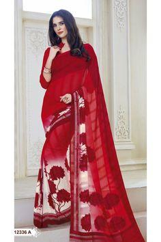 Ethnic Wear Multi-Colour Marble Gerogette Saree  - BELA-12336-A