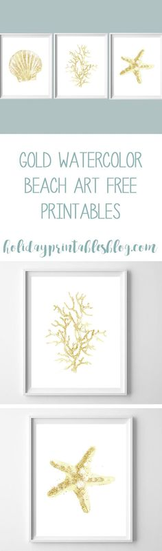 Gold watercolor beach art printables! Free coastal inspired printables to add some beachy style to your home. Includes seashell, coral and starfish.