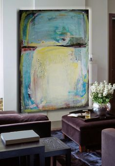 Large Original Abstract Painting blue yellow by cherylwasilowart,
