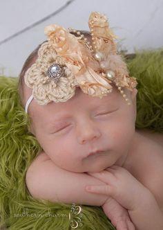 Baby Girl Headband, Baby Crochet Headband, Newborn Headband, Newborn Prop (love the hair piece )