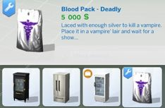 Mod The Sims: Vampires - Poisoned and Deadly Plasma Packs by Tremerion • Sims 4 Downloads