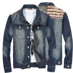Sale 17% (45.92$) - Mens Flag Printing Denim Jacket Turn-down Collar Fashion Casual Motorcycle Stitching Coat