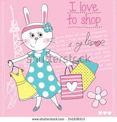 fashion love bunny vector illustration