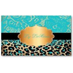 Pixdezines Blue Vintage Lace Cheetah Business Card Template