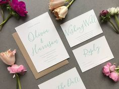 Modern Mint Wedding Invitation and RSVP  Simple Wedding