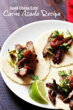 Good Cheap Eats' Carne Asada Recipe - Enjoy the smoky, savory goodness of homemade carne asada that you marinate yourself. With this carne asada recipe, you can avoid the unhealthy additives of commercial marinades and focus on real food flavor.