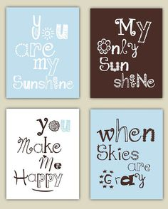 You Are My Sunshine in Brown, Light Blue, and White 4 prints in 8x10 nursery art, baby shower gift on Etsy, $55.00