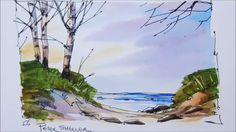 Easy to folow pen and wash tutorial of Beach sunset in watercolor. Full ...