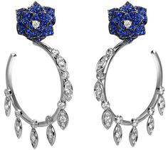 Piaget Rose earrings in 18K white gold, set with brilliant-cut sapphires and brilliant-cut diamonds.