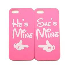 "How cute and sweet are these hard cover cases for your iPhone. They are matching hard cases that have a ""She's Mine, He's Mine"" design, so they are the perfect cases to have if you and your boo want t"