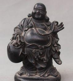 """006369 8"""" Old Chinese Buddhism Bronze Happy Laugh Maitreya Buddha Money Bag Statue #Affiliate"""