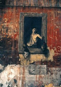 """Ernest Pignon-Ernest : His work is rarely shown in galleries. It is truly """"street art"""" in the sense that it uses the street as its wall and its audience. This series of photographs shows examples of the work he did between 1988 and 1995 in Naples, using images from Italian paintings, essentially by Caravaggio."""