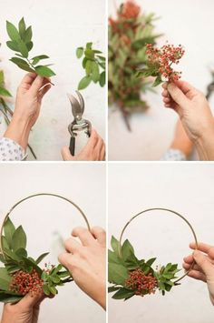 This berry + bay leaf wreath is super easy to make. All you need is a brass macrame ring, & berry & bay leaf branches!