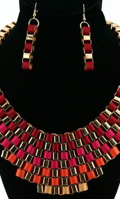 'CLEOPATRA' STATEMENT NECKLACE AND EARRING SET - RED